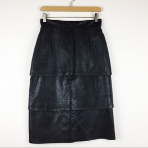 Vintage lambskin leather midi skirt tiered black